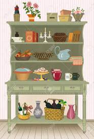 vintage cupboard with kitchen utensils and food royalty free