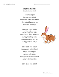 reading comprehension worksheet u2013 my pet rabbit mich pinterest