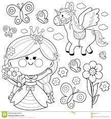 princess fairy tale set coloring page stock vector image 94840773