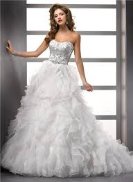 ball gown strapless organza ruffle wedding dress with beading