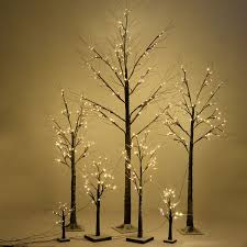 brown birch snow tree w led lights seasonal