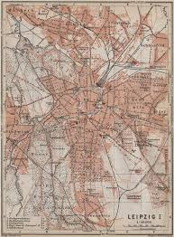 map of leipzig leipzig antique town city stadtplan i saxony karte baedeker 1913
