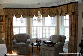 living room window treatments for bay window in living room