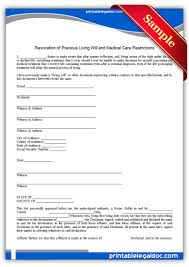 free printable revocation of life sustaining agreement form generic