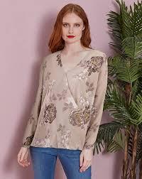 floral foil wrap floral foil print hem wrap blouse oxendales