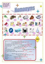 20 free esl homonyms worksheets
