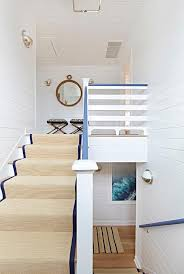 Bound Sisal Rug Bungalow Staircase With Blue Bound Sisal Runner Cottage