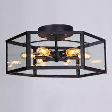 Glass Flush Mount Ceiling Light Six Light Black Flush Mount Ceiling Light With Glass Shade