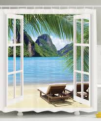 island scenes promotion shop for promotional island scenes on memory home palm tree decor ocean beach seascape sunbeds balcony wooden windows summer scene island fabric shower curtain