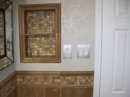 autumn leaves 2x2 travertine mosaic tiles and noce ogee bullnose