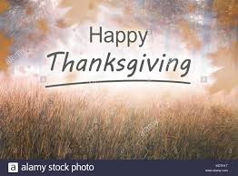 image of happy thanksgiving writing with autumn background stock
