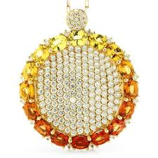 sapphire necklace with diamonds images Multi color sapphire circle sun pendant necklace with diamonds jpg