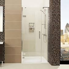 decem hinged shower door with one inline panel for alcove fitting