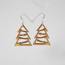 christmas earrings wooden christmas tree earrings by press send notonthehighstreet
