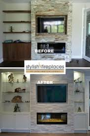 Electric Fireplace Wall by One End Of Fireplace Wall With Custom Cabinetry Erthcoverings