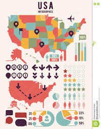 Usa Map With States by United States Of America Usa Map With Infographics Elements Stock