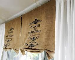 Smocked Burlap Curtains Burlap Valance Etsy