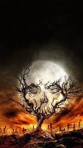 digital art portrait display nature trees skull moon