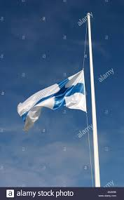 Finnish Flag Finnish Flag Flying At Half Mast At Time Of National Mourning