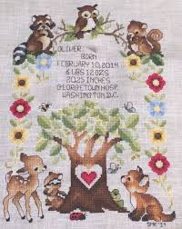 ohsewcrafty stitching hd woodland birth announcement