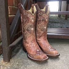 Country Western Clothing Stores Corral Women U0027s Brown Glitter Square Toe Cowgirl Boots A3120