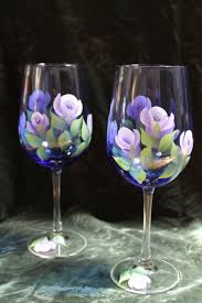Hand Painted Wine Glasses $24 95 via Etsy