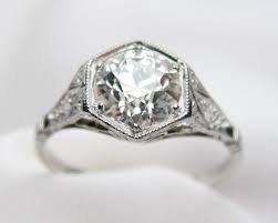 deco engagement ring hexagonal deco engagement ring 1920s platinum diamond ring