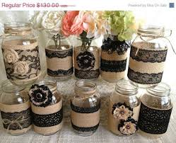 rustic wedding decorations for sale 3 day sale 10x rustic burlap and black lace covered jar