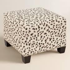Animal Print Ottomans Snow Leopard Upholstered Ottoman Ottomans Upholstery