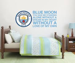 manchester city wall stickers ebay official manchester city crest blue moon song wall sticker decal mural man city