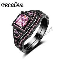 black and pink wedding ring sets black gold pink sapphire engagement rings price comparison buy