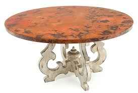 Copper Dining Room Tables by Round Copper Dining Table With Old World Base Custom Sizes