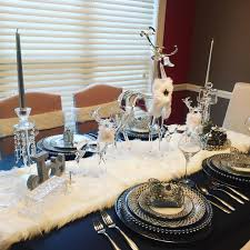 white christmas tablescape the fur table runner is from tjmaxx