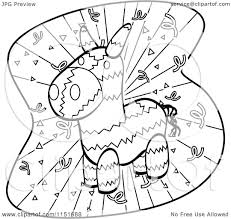 cartoon clipart of a black and white donkey pinata and confetti