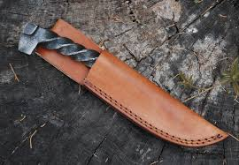 custom hand made damascus steel hunting bowie knife handle camel