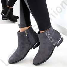 womens grey ankle boots uk womens flat ankle boots side zip casual low heel shoes