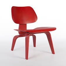 red herman miller original eames lcw wooden lounge chair eames