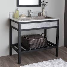 Bathroom Vanity With Shelf by Cuzco Bathroom Vanity Base With Carrara Marble Native Trails
