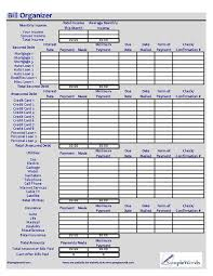 monthly bill organizer excel xls