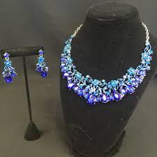 blue crystal necklace set images Blue crystal rhinestone necklace set kolours designed for divas