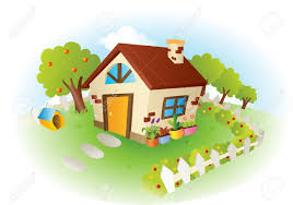a illustration a cute house with garden royalty free