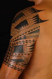 tribal maori polynesian tattoo on chest real photo pictures
