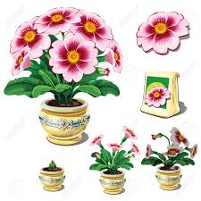 potted flowers seeds in bag and stages of growth potted flowers six icons