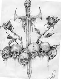 meaningful sword skulls and roses drawing cool for