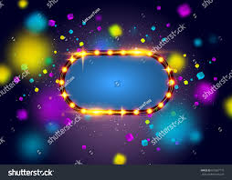 glowing lights retro frame advertising design stock vector