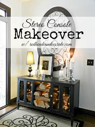 Upcycled Stereo Cabinet Stereo Console Makeover At The Picket Fence