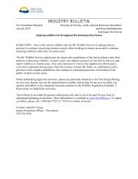 Bc Wildfire Prevention by District Of Clearwater U2013 Industry Bulletin From Ministry Of Forest