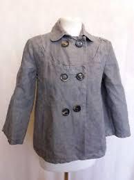 oui set a817 womens oui set grey 6 button cotton jacket uk size m 10