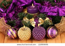 Purple Gold Christmas Decorations Christmas Composition Candles Decorations Purple Gold Stock Photo