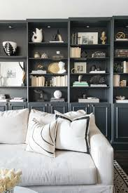 library bookshelf decorating ideas white sofa black and white